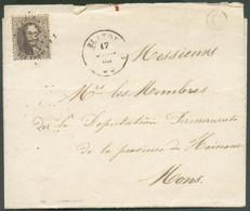 N°14A - Médaillon 10 Centimes Brun, Obl. LP.43 Sur Lettre DeBLATONle 17 Janvier 1866 + BoîteGdeSTEENBRUGESvers Mon - 1863-1864 Médaillons (13/16)