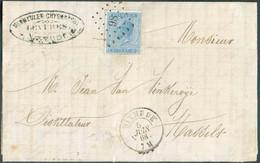 N°18 - 20 Centimes Bleu, Obl. LP.98 Sur Lettre DeDIXMUDEle 2 Octobre 1868 Vers Hasselt. Belles Frappes. -TB- 16569 - 1865-1866 Profil Gauche