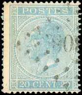 N°18 - 20 Centimes Bleu, Obl. LP.308REBAIX. R. -TB - 16570 - 1865-1866 Profil Gauche