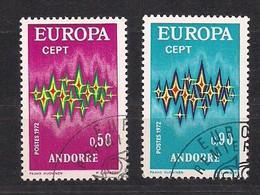 Cept 1972 Andorra Andorre Français Yvertnr. 217-18 (°) Oblitéré Cancelled Cote 12,15 Euro - 1972