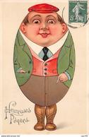 Pâques - N°69008 - Heureuses Pâques - Homme En Forme D'oeuf - Carte Gaufrée - Pasen