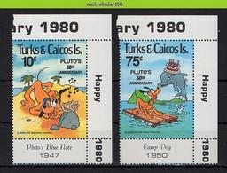 Nfe919 WALT DISNEY SCHELP HOND PLUTO DOLFIJN DOG SHELL DOLPHIN HUNDE CHIEN MUSCHEL TURKS & CAICOS 1981 PF/MNH - Disney