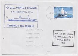 Tristan Da Cunha FDC First Day Cover Posted On Board QE 2 World Cruise 1979 Paquebot Posté à Bord Cachet Sea Post Signed - Tristan Da Cunha
