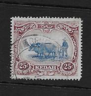 Kedah 1921 Oxen Ploughing 25c FU Wmk 4 - Kedah