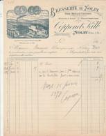 Facture Illustrée 1897 COPPENET KILB  Bière Bock & De Conserve Brasserie De NOLAY Côte D'Or - 1800 – 1899