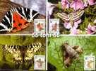 1990 Fauna  Butterflies (Papillons ) 6 V- 6 MC (maximum Cards)  Bulgaria / Bulgarie - Mariposas