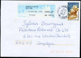 Complément D'affranchissement Sur Lettre Obl. Bures-sur-Yvette (91) - 1990 «Oiseaux De Jubert»