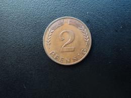 RÉPUBLIQUE FÉDÉRALE ALLEMANDE * : 2 PFENNIG   1968 D    KM 106a     SUP - 2 Pfennig