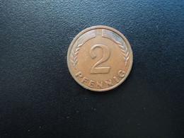 RÉPUBLIQUE FÉDÉRALE ALLEMANDE * : 2 PFENNIG   1968 G    KM 106a     SUP - 2 Pfennig