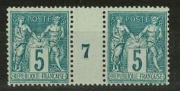TB TIMBRE SAGE N° 75 NEUF ** LUXE GOMME D'ORIGINE En PAIRE HORIZONTALE Avec MILLÉSIME 7 (1897) - FRAICHEUR POSTALE - 1876-1898 Sage (Type II)