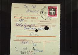 DDR: Einzahlungsauftrag Vom 13.4.59 Aus Wansdorf/Nauen über 600 DM Mit 20 Pf Luftpost Knr: 610 - Briefe U. Dokumente