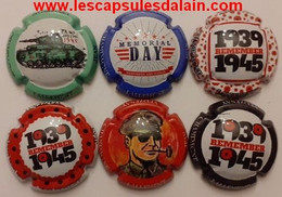 6 BELLES CAPSULES CHAMPAGNE LALLEMENT JEAN 39/45 GUERRE NEWS - Collections