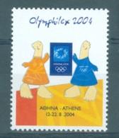 Athens 2004 Olympic Games, Olymphilex, Poster Stamp, Vignette,  Greece Grèce Griechenland Grecia - Estate 2004: Atene