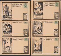 """Jeu Complet - Série De 12 Entiers Postaux Illustrés Type 35ctm Vert Lion Héraldique """"Orval"""" (ange Noir & Brun). Neuf ! - Illustrat. Cards"""