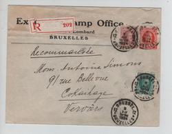 REF2481/TP 194-199-201 Houyoux S/L.Excelsoir Stamp Office+vignette Coupée C.BXL 12 9/12/1924 > Cokaihaye Verviers - Brieven En Documenten