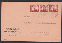 SUHL SoSt. 1848 - 1948 Mahnt Einheit Deutschlands Mit 8 Pfg. Karl Marx SBZ 214(3) Portogenau An Sozialamt Eisenach - Zona Sovietica