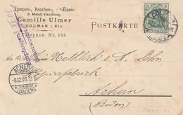 13670  Carte De COLMAR Pour ACHERN (BADEN) Le 5/12/1908 - Alsace Lorraine