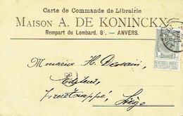 CP/PK Publicitaire ANTWERPEN 1910 - Entête Maison A. DE KONINCKX - Boekhandel Te ANTWERPEN - Antwerpen