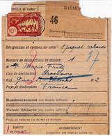 Grand Fragment Bulletin D'expédition 10c Fiscal Obl Tananarive Colis Postaux 16 Juil 1932 Envoi De Rabanes Pr Strasbourg - Lettres & Documents