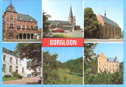 Borgloon-Limburg-Groeten Uit-Multivues-6 Zichten-Stadhuis-Collegiale-Kerk-St.Odulphus-Kerk Van Het Gasthuis-Kasteel - Borgloon
