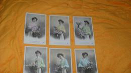 LOT 6 CARTES POSTALES ANCIENNES CIRCULEES DE 1906../ FEMME FLEURS..SERIE 1025. L'ORANGER, L'IRIS, LE LILAS, LA TULIPE, L - Frauen