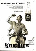 """PUB BOISSONS   """" RICQLES """"  Et La """"  VESPA """"  1960 ( 12 ) - Other"""