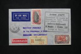 CÔTE DES SOMALIS - Enveloppe En Recommandé Pour Toulouse Par Vol Retour Istres / Djibouti En 1937 , Avion Japy - L 80104 - Non Classés
