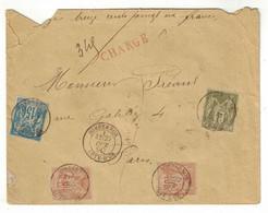 1890 - LETTRE GRIFFE ROUGE CHARGE AFFRANCHISSEMENT 3 COULEURS À 1F95 Avec SAGE N° 94 X 2 + 82 + 90 SOMBERNON COTE D'OR - 1876-1898 Sage (Type II)