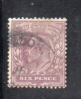 1574 490 - GRAN BRETAGNA 1902 , 6 Pence Unificato N. 114  Usato. - Gebraucht
