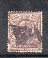 1575 490 - GRAN BRETAGNA 1902 , 6 Pence Unificato N. 114  Usato. - Gebraucht