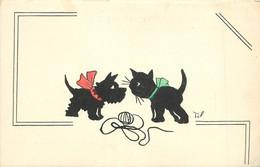 CHAT ET CHIEN NOIR Carte Illustrée Par Til. - Cats