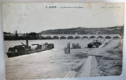 C. P. A. : 47 AGEN : La Garonne Et Les Quais, Péniches, Animé, Timbre En 1906 - Agen