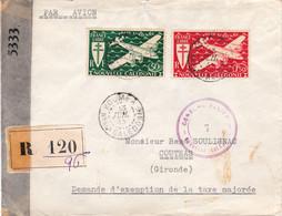 LR Double Censure Alliée Nouméa 13 Juil 1945 Pr Coutras Envoi De 75F De Timbres-poste - Non Classificati