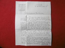 GEORGES BASTIA LETTRE AUTOGRAPHE 1942 Caricaturistedessinateur Peintre Chansonnier Français - Autogramme & Autographen