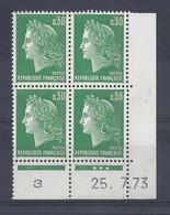 MARIANNE De CHEFFER N° 1611b - BLOC De 4 COIN DATE - NEUF SANS CHARNIERE - 25/7/73   3 Points - 1960-1969