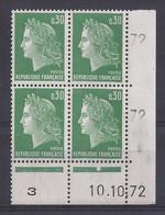 MARIANNE De CHEFFER N° 1611 - BLOC De 4 COIN DATE - NEUF SANS CHARNIERE - 10/10/72   1 Point - 1960-1969