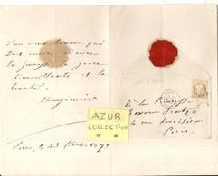GENERAL CHANGARNIER . LETTRE AUTOGRAPHE + ENVELOPPETIMBREE AVEC SCEAU . 1873 - Autogramme & Autographen