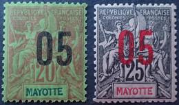 R2062/373 - 1912 - COLONIES FR. - MAYOTTE - N°24 à 25 NEUFS* - Nuevos
