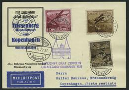 ZULEITUNGSPOST 108 BRIEF, Liechtenstein: 1931, Ostseejahr-Rundfahrt, Abwurf Kopenhagen, Prachtkarte - Zeppelin