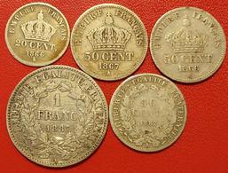 Lot De Pièces Argent Cotées,2ème République, Napoléon III. - Other