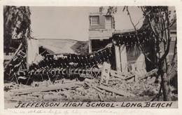Long Beach California Earthquake Damage 1933, Jefferson High School Ruins, C1930s Vintage Real Photo Postcard - Long Beach