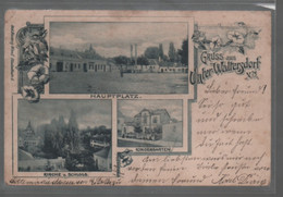 Gruss Aus Unterwaltersdorf Hauptplatz Kindergarten Kirche Und Schloss 1899 Gelaufen - Baden Bei Wien