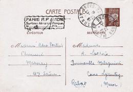 80c Pétain Avec Griffe Paris RP Avion Surtaxe Aérienne Perçue Obl Marnay 22 12 1941 Pour Le Maroc - Standard Postcards & Stamped On Demand (before 1995)
