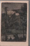 Ruine Rauhenstein Bei Baden Originalradierung L.V.Pollak Handpressdruck Ca.1910 Nicht Gelaufen - Baden Bei Wien