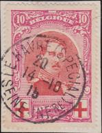 Belgie   .    OBP    .    133   Sur Fragment   .     O      .       Gebruikt   .   /   .   Oblitéré - 1914-1915 Croix-Rouge