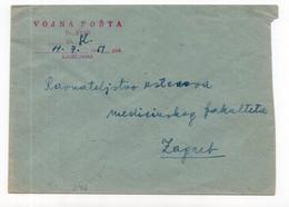 1951. YUGOSLAVIA, SLOVENIA, LJUBLJANA TO ZAGREB, ARMY MAIL - Cartas