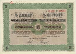 Titre Ancien - Wiener Bank-Verein - Titre De 1927 - Bank & Insurance