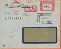 ITALIA - ITALY - ITALIE - 1952 - 80 EMA,Red Cancel - Banca Credito Italiano - Raccomandata - Busta + Estratto Conto - Vi - Machine Stamps (ATM)