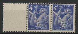 """N° 656a COTE 55 € Paire Du 4Fr IRIS Avec VARIETE """"CROCHET AU CHIFFRE 4"""". Neufs. Avec Bord De Feuille - 1939-44 Iris"""