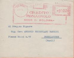 ITALIA - ITALY - ITALIE - 1950 - 20.00 EMA,Red Cancel - Banca Credito Romagnolo - Busta + Lettera - Viaggiata Da Bologna - Machine Stamps (ATM)